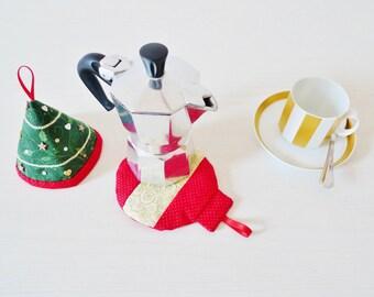 Christmas Coffee mocha set PDF sewing pattern - Christmas sewing pattern - Christmas ornaments pattern - Christmas tree potholder pattern