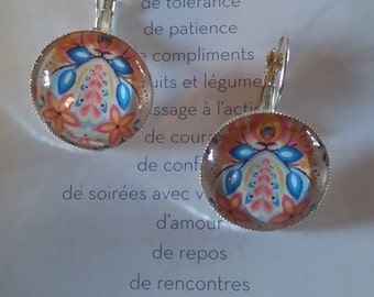 Earrings retro pattern Russian tradition