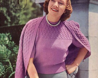 Vintage Ladies Larger Sizes,Tops,Cardigan's,Two Piece,Twin Set,Dress,Vests,Bedjacket, Knitting Pattern,1950/1960(PDF)Pattern, Stitchcraft 22
