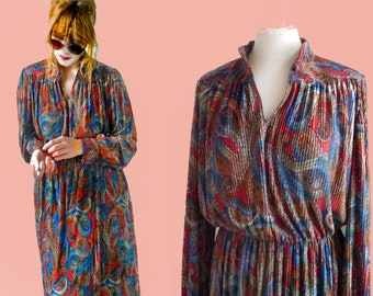 70s dress Vintage 70s paisley dress Long Princess sleeves daydress colorful 70s womens fashion shirt dress Size Medium/ Large