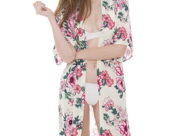 "Women's Floral Kimono Cardigan Lightweight Beachwear Swimwear Cover Ups Sheer Blouse Loose Tops 41"" (6863)"