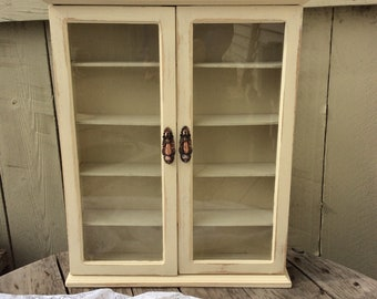 Large Shabby Chic Curio Cabinet Finished in Almond