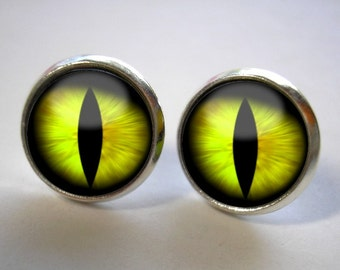 Yellow Cat's Eye - Button Stud Earrings - Silver or Bronze Finish - Matching Pendant Available