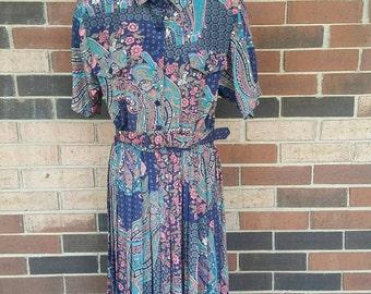 Vintage floral belted dress size 16