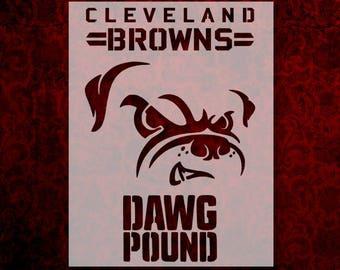 "Cleveland Browns Dog Dawg Pound 11"" x 8.5"" Custom Stencil Fast Free Shipping (24)"