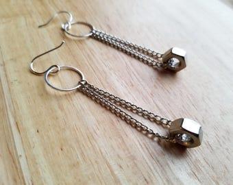Earrings Stainless Steel Hex Nut Drop