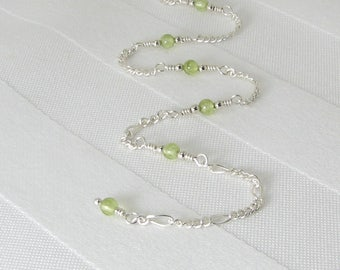 Peridot and Sterling Silver Adjustable Chain Anklet