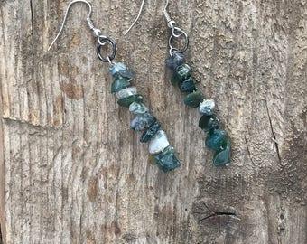 Moss Agate Crystal Earrings, Moss Agate Stone Earrings