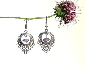 Natural amethyst jewelry, dangle chandelier earrings, nature inspired jewelry, silver natural earrings, genuine amethyst earrings nature syn