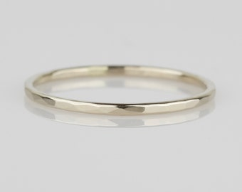 1mm Simple 14k 0r 18k Gold Hammered Band Ring - Solid 14k 0r 18k White or Yellow or Rose Gold - Tiny Delicate Halo - Dainty and Thin