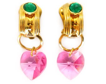 Vintage 1980s Gold Tone Pink Heart Drop Earrings