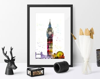 Printable, Watercolour, London Skyline, Home Decor, Gift for her, Instant Download