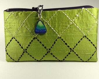 Lime Green Silk Zippered Purse with Sashiko Embroidery