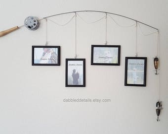 Fishing Pole Picture Frame - Silver or Brown Pole - 4 - 4 in x 6 in Picture Frames - Black