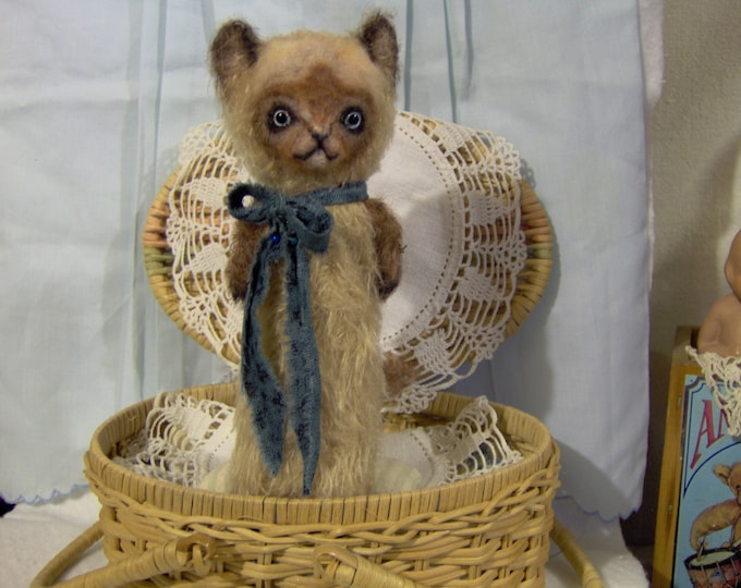 Siamese Cat Primitive Mohair Kitty Vintage Style