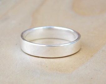 Plain Rings, Plain Silver Ring, Band Ring, Sterling Silver Ring, Stackable Ring, Stacking Ring, Wedding Band, Simple Ring 4mm By Stampsink