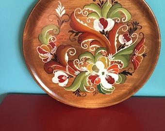 Wall Decor • Decorative/ Hand-painted Wooden Plate • Flower Motif