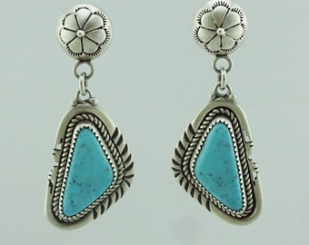 Old Pawn Native American Navajo Turquoise Sterling Silver Earrings Stamped