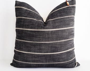 Black and cream striped pillow cover 18x18