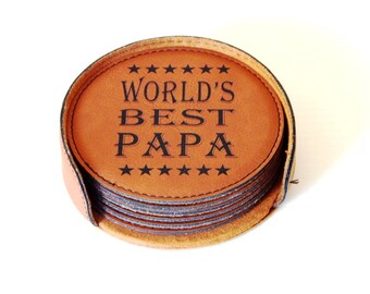 World's Best Papa Gift - Gifts for Grandpa Fathers Day - Grandfather Birthday Gift - Leather Coasters, CAS009