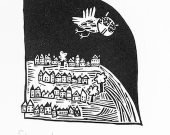 Night Flight - lino cut print, owl, owls, handmade, printmaking, night, illustration, black and white,