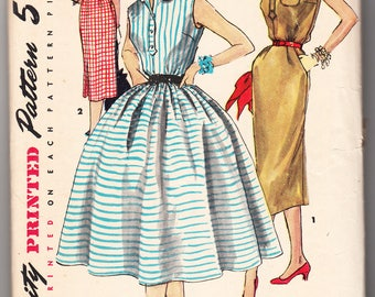 Vintage 1955 Simplicity 1118 Sewing Pattern Misses' One-Piece Dress with Two Skirts Size 16 Bust 34