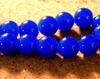 10 pearls 8 mm glass jade-blue royal PE201 11