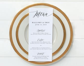Wedding Menu - Printable Wedding Menu - Party Menu - Custom Menu - Wedding Menu - 4 x 9 Wedding Menu - Printable Menu - Wedding Template