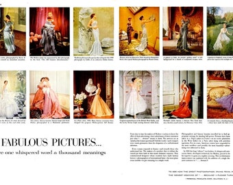 1954 Modess Fashion Print Set Mid Century Haute Couture Dovima Lisa Fonssagrives Dorian Leigh Suzy Parker Magazine Spread Wall Art Decor Ads