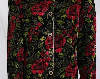 vintage 80s 90s VELVET JACKET blazer Rose Pattern, floral, holiday sz 14
