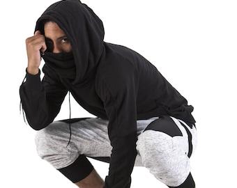VAGABOMBE HOODIE sweater - big hood - snood - underground / street wear / graffiti / apocalypse