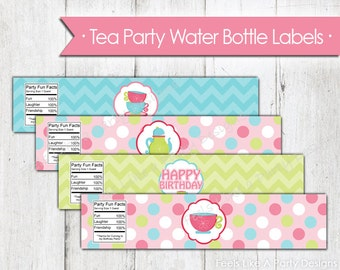 Pink Tea Party Water Bottle Labels - Instant Download