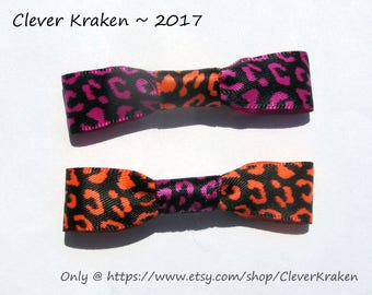SALE - Hair bow pair, 2.5 inches, leopard pattern polyester ribbons, neon orange, magenta, & black, on 1.5 inch French barrette clips