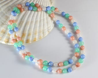 1960s Long Small Round Smooth Popper Bead Pastel Shade Beads Beaded Plastic Bead Necklace