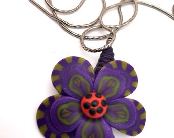 Purple and Green Scene pendant flower nevklace by Marie Segal