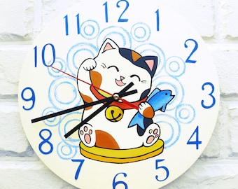 Lucky Cat Wall Clock (White), Pets, Animals, wood clock, white home decor, kids gift, wedding gift, for Office, Industrial style