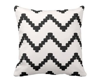 """Chunky Chevron Print Throw Pillow, Black & White 16, 18, 20 or 26"""" Square OUTDOOR or INDOOR Pillows/Covers, Geometric Stripe Pattern"""