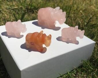 One (1) Mini Rhino Rose Quartz