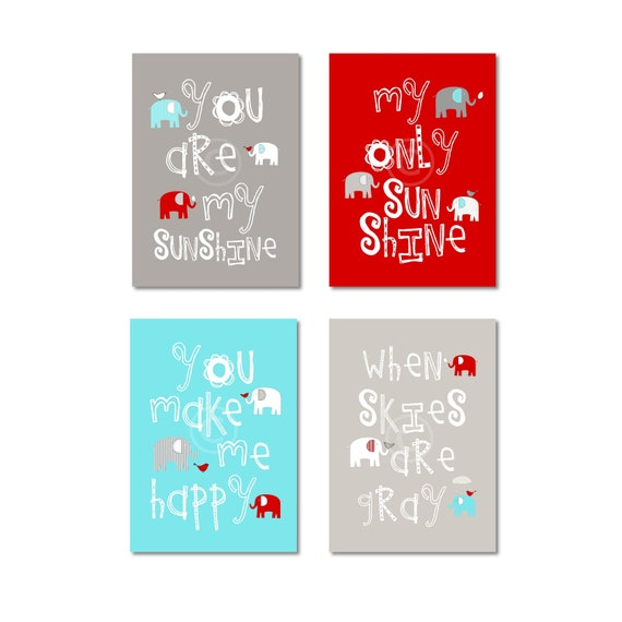 Popular Items For Nursery Decor On Etsy Baby Shower: Items Similar To Gray, Aqua And Red Nursery Decor Prints