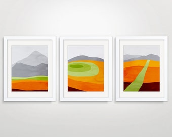 Orange Wall Art Prints Set of 3, Mid Century Modern Art, Abstract Wall Art Prints, Modern Wall Art, Mountain Print, Abstract Landscape Art