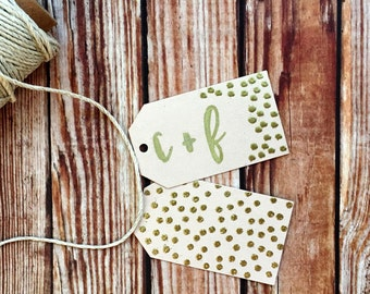 Wedding favor tags, set of 25 custom paper tags, blush and gold confetti polka dot labels, DIY bridal shower engagement party decorations