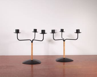 Pair of Iron and rattan candle holders