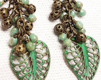 Pale/Grass Green Antique Brass Dangle Earrings