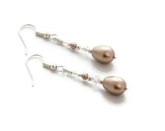 Pearl Dangle Earrings - Crystal Drop Earrings - Handmade Earrings - Bridesmaid Gift - Wedding Jewelry - Gift For Her - Pearl Earrings