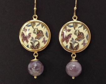 Butterfly TO2 + Amethyst Earrings