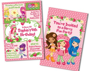Strawberry Shortcake Birthday Invitations