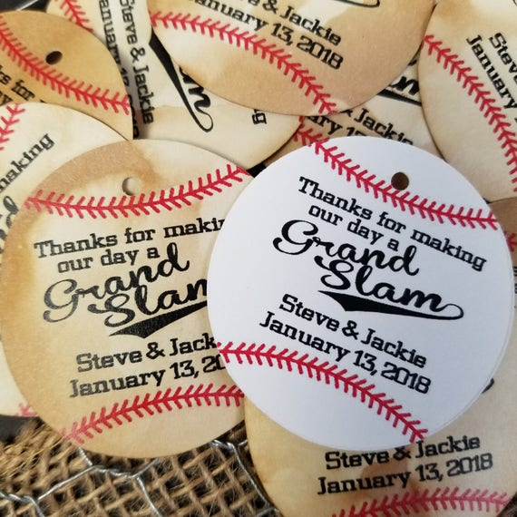 Thanks for Making our Day a Grand Slam Baseball Circle shape Personalize Wedding Birthday Favor Tag choose your amount GRANDSLAM Home Run