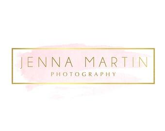 Premade Logo Design & Photography Watermark - Watercolor logo - Blog Header - Website Logo - Gold Logo - Blog Logo - Youtube Header  784