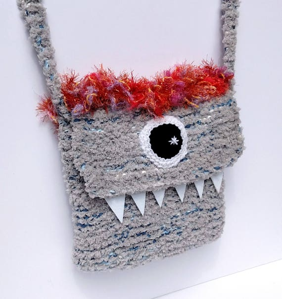 Silly Cyclops Hand Knit Bag - Grey and Orange