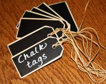 20 Double-sided Chalkboard Tags with Jute Ties Measuring 3 1/4 x 1 1/2 Inches